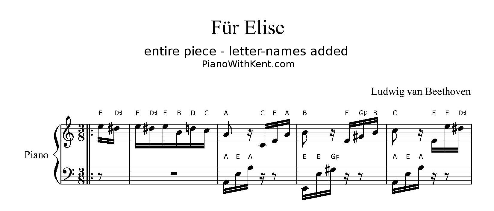 Fur elise piano sheet with letters
