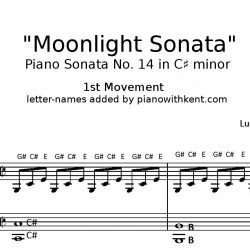 Moonlight Sonata with Letter-names added - pianowithkent.com