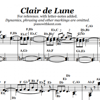 Clair de Lune With Letters - Letters and Notes || Piano Music with Note-Names