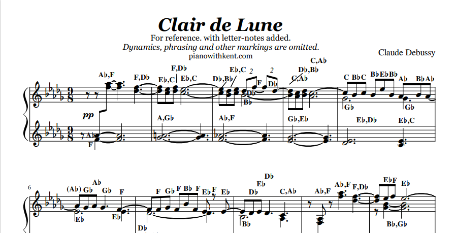 Clair de Lune | Unabridged Complete | Whole Piece | Letters and Notes || with Letters Added Piano Sheet Music with Letters