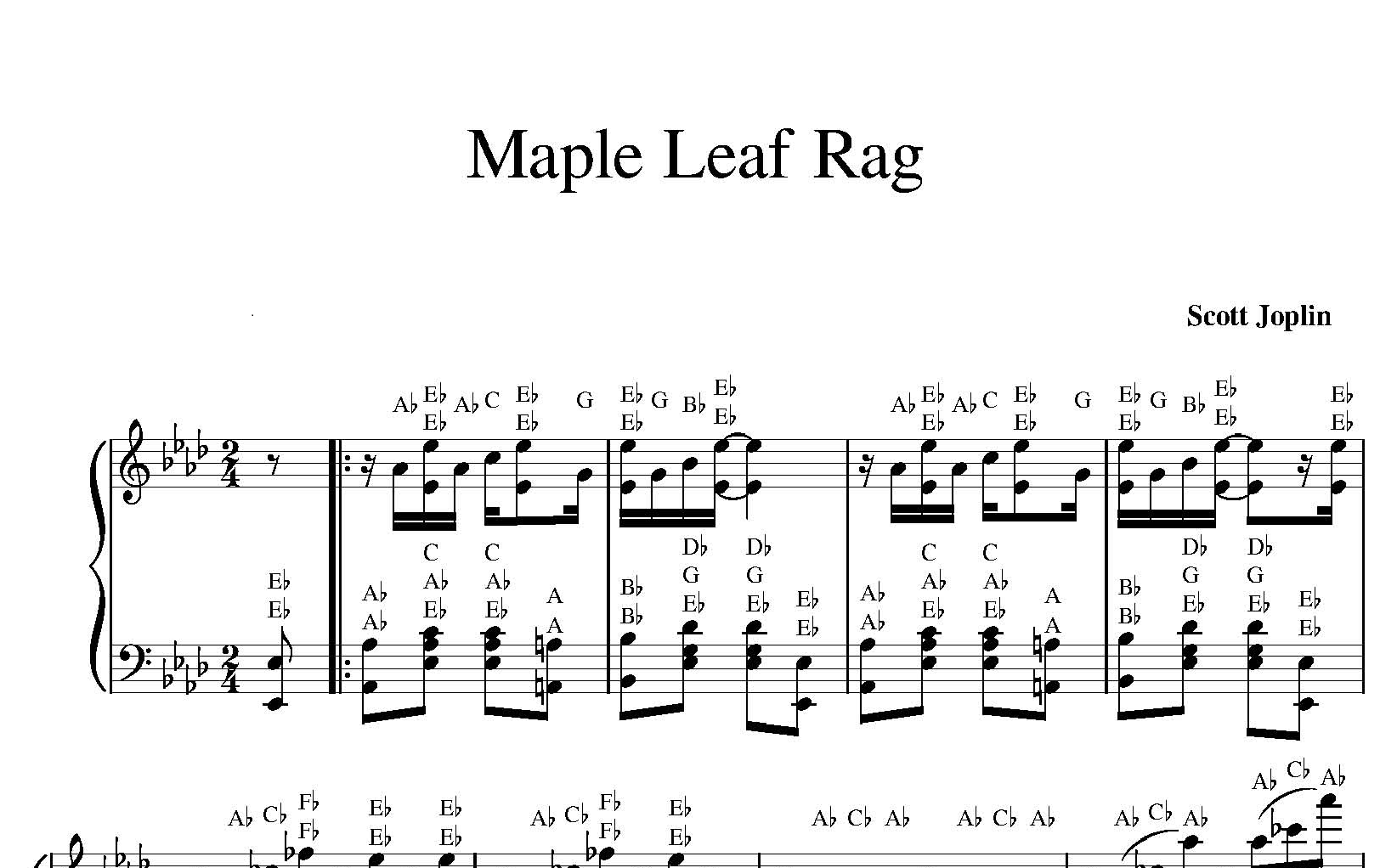 Maple Leaf Rag sheet music with letters