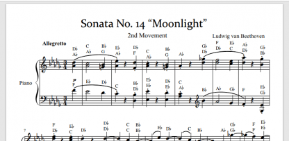 Moonlight Sonata piano sheet music with letter notes