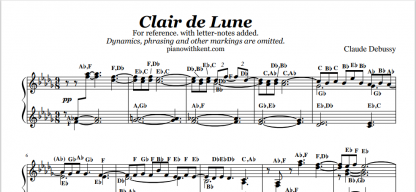 Clair de Lune piano sheet music with letter note-names. This image shows an excerpt of this sheet music from Piano with Kent.