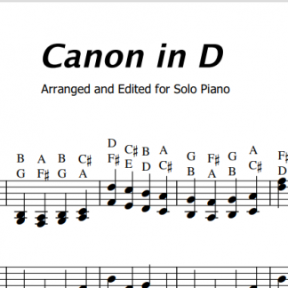 Canon in D sheet music with letters - Piano with Kent