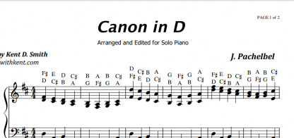 Canon w partyturach D z literami - Piano with Kent